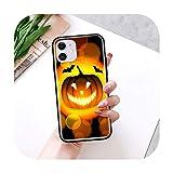 Calabaza Halloween caso para iPhone 11 Pro Max XS X XR 7 8 6 6S Plus 5 5S SE 2020 negro TPU teléfono coque Shell-B01-para iPhone 6 6S