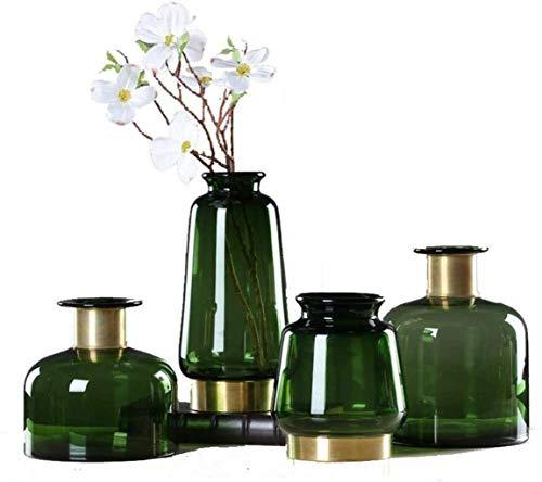 Jarrón para tumba de cristal transparente, centros de mesa de latón, diseño especial, resistencia a la corrosión, 4 piezas para flores (color, tamaño: libre)