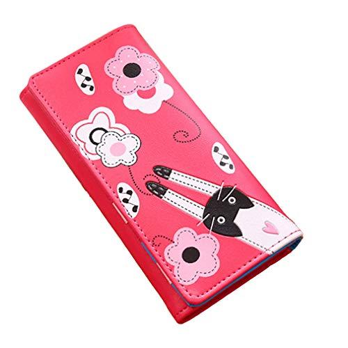Kaned Cartoon - Cartera para Mujer, diseño de Gato con Flores y muelles, Plegable, con Tarjetero, Rosa roja, As The Description