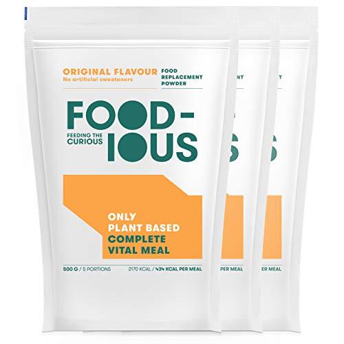 FOODIOUS Original Eiweißpulver-100% Vegan-Ideal als Mahlzeitersatz oder Diät Shake-Only 2g of Sugars per Meal-Frühstückspulver 3 Pack x 500g=15 Mahlzeiten-Premium Zutaten- Low in Zucker Protein Pulver