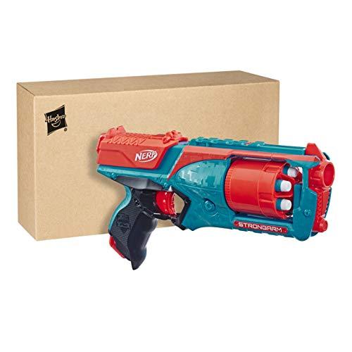 Nerf Elite Strongarm orangefarbener Blaster – Rotationstrommel, Schnellfeuer, 6 Nerf Elite Darts – für Kinder, Teenager, Erwachsene