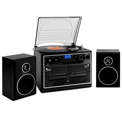 auna stereo-installatie 388-BT met muzieksysteem met draaitafel (dubbel cassettedeck, digitaliseringsfunctie, voor cd, mp3-cd, vinyl, mp3, houtlook, afstandsbediening) zwart