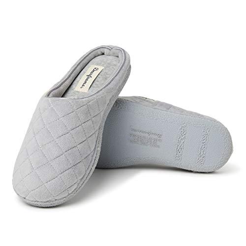 Dearfoams – Zapatillas de terciopelo para mujer, Gris ceniza, M