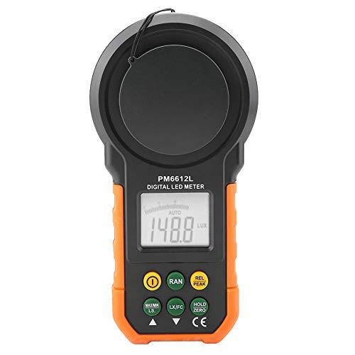 Medidor de luz digital PEAKMETER, luxómetro digital de alta precisión PM6612/PM6612L 200,000Lux(PM6612L)