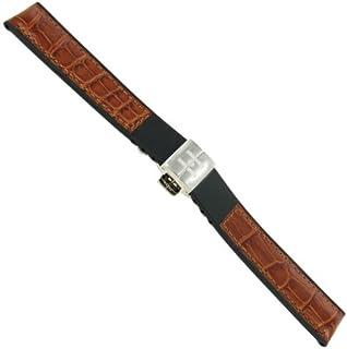 18mm Hirsch Amazon Corvette Buckle Tan Alligator Grain Genuine Leather Watchband