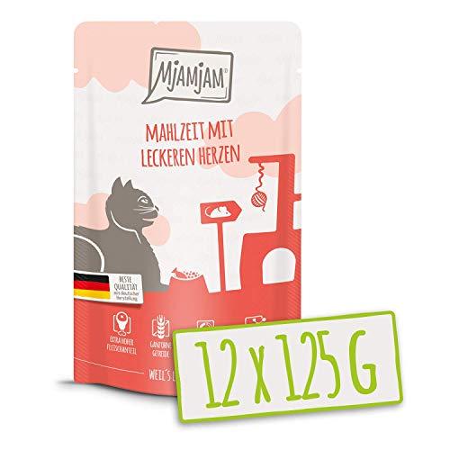 MjAMjAM - Premium Nassfutter für Katzen - Quetschie - Mahlzeit mit leckeren Herzen, 12er Pack (12 x 125 g), getreidefrei mit extra viel Fleisch