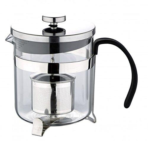 Glas Teekanne mit integriertem Tee-Ei - 0,6 Liter Kanne - Kaffeekanne - Kaffeebereiter - inkl. Teeei & Deckel - Teebereiter - Teezubereiter