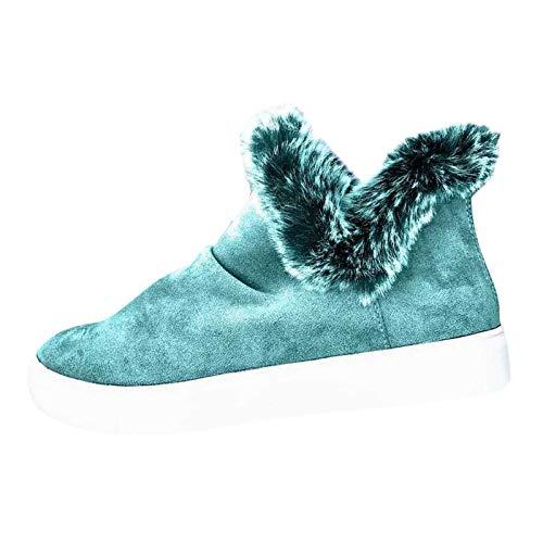 Toimothcn Women Winter Solid Color Keep Warm Ankle Boots Plush Plus Velvet Boot Waterproof Flat Snow Boots