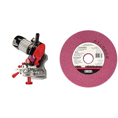 Oregon 410-120 120V Bench/Wall Mounted Saw Chain Grinder, Professional Sharpener for Chainsaw Chains, Sharpens, Stihl, Husqvarna Chains and More & OR534-316A Grinding Wheel Saw Chain, 3/16 Inch