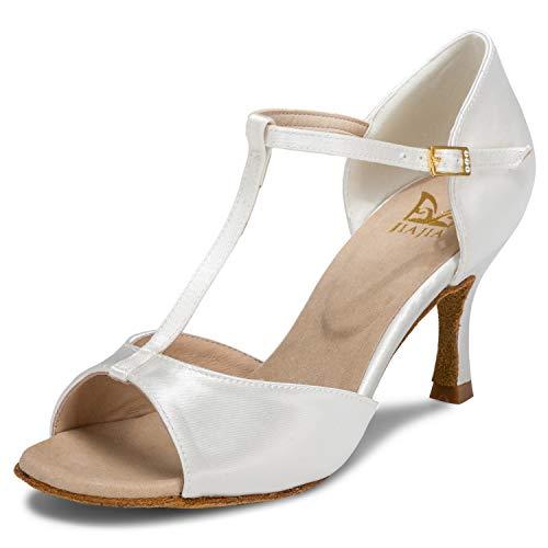 JIA JIA 20511 Sandales pour Femmes 2.7 '' Talon évasé Super Satin Latin Chaussures de Danse Couleur Ivoire, Taille 39 EU