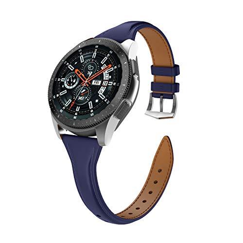 Isabake Correa de Cuero para Samsung Galaxy Watch 46mm/Gear S3 Classic/Gear S3 Frontier para Mujer, Correa de Reloj de 22mm de Ancho con Hebilla de Acero Inoxidable(22mm, Azul Oscuro)