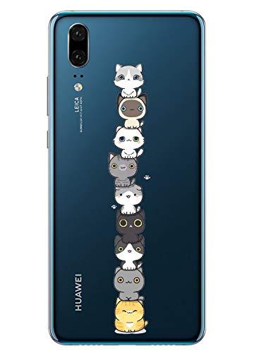 Oihxse Compatible pour Coque ASUS Zenfone Max M2 ZB633KL Étui Liquid Crystal Ultra Mince Transparent TPU Silicone Housse Protection Bumper Souple Mignon Modèle Anti-Rayures Case(Chat)