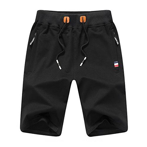 JustSun Sport Shorts Herren Kurze Hose Sommer beiläufig Baumwolle Elastische Taille Gym Sweat Shorts Schwarz Small