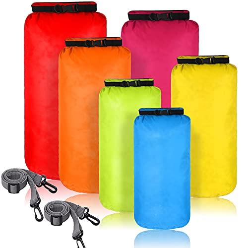 Set de 6 Bolsas Impermeables Herméticas Ligeras Saco Seco Sumergible con Sacos de 20 L 15 L 10 L 8 L 5 L 3 L y Correa de Hombro Larga Ajustable para Acampar Kayak Deriva (Color Brillante)