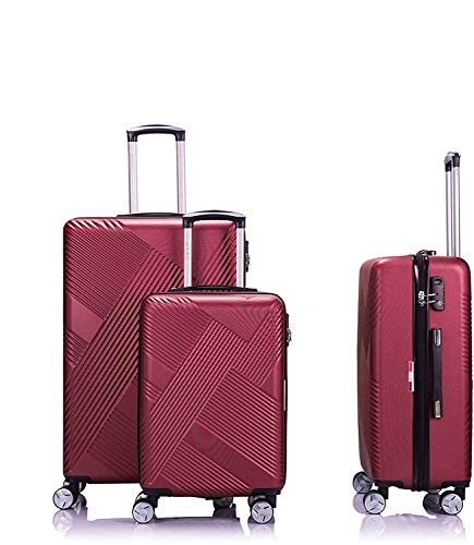 Trolley 4 with Lined Wheels 55-65-75 cm Ultra-Light Wheel Baggage Box,Red