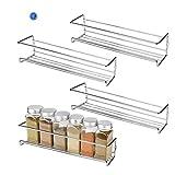 HSR Gewürzregal aus Metall |Stehende Küchenablage | Schrankeinsatz für Schranktür | 29 x 6 x 5 cm | Silber | 4 Stück