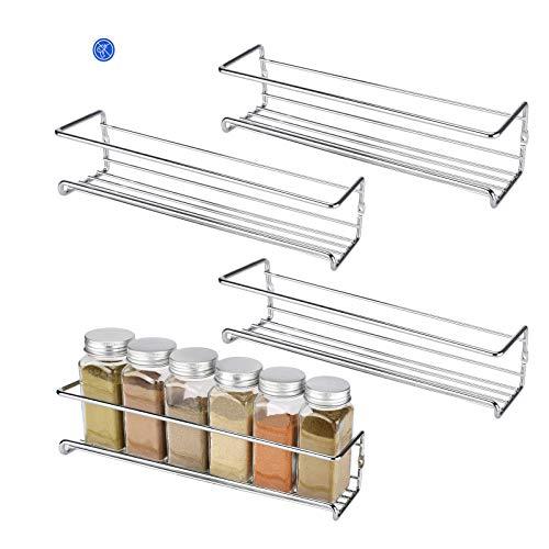 Hansiro Gewürzregal aus Metall |Stehende Küchenablage | Schrankeinsatz für Schranktür | 29 x 6 x 5 cm | Silber | 4 Stück