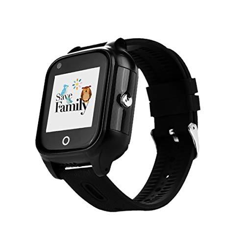 Reloj-Smartwatch 4G con Videollamada & GPS instantáneo para niños SaveFamily. Reloj con WiFi, Bluetooth, identificador de Llamadas, Boton SOS Resistente al Agua Ip67. App Propia SaveFamily (Negro)