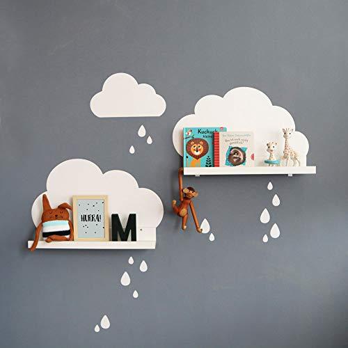 Limmaland Wandtattoo Wolken mit Tropfen passend für Deine IKEA RIBBA / MOSSLANDA Bilderleisten (Farbe Weiß) - Babyzimmer Kinderregale