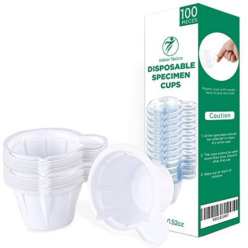 Indoor Tactics Urinbecher 100 Stück Urinprobenbecher 45 ml Einweg-Urinprobenbecher aus Kunststoff für Ovulationstest/Schwangerschaftstest/pH-Test