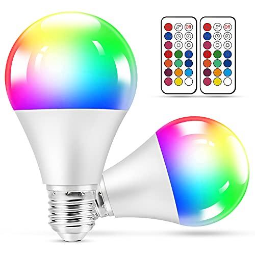 Bombillas LED de Color, 2 Piezas RGBW LED Bombilla Regulable Cambia de Color E27 10W con Control Remoto, Lámparas de Ambiente con Función de Memoria y Temporizador para Hogar, Decoración, Bar, Fiesta