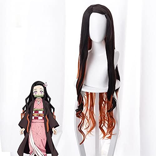 ZZYYII Demon Slayer: Kamado Nezuko, Degradado Negro marrón Amarillo Largo y Rizado Pelo, Personaje de Anime Cosplay Pelo Largo, Pelucas de Moda para Mujer usadas para cómic