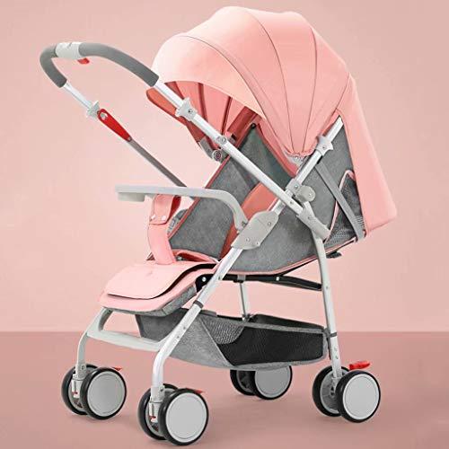 LjfⓇ Passeggino Hot Mom Carrozzina, Passeggino Besrey Compatto Leggero, Carrozzina reclinabile per Aeroplano Carrello Ultraleggero per Bambini con Manico per Bagagli-Rosa
