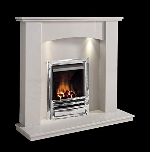 White Marble Stone Modern Curved Wall Surround Gas Fireplace Suite Chrome Inset Gas Fire with Spotlights