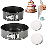 EXGOX Cake Pan 2 Set/Pieces, 4 Inch 7 Inch Non-Stick Quick-Release Leakproof Round Cake Pan with Removable Bottom Cake Pan for Baking