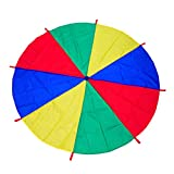 12ft Rainbow Parachute for Outdoor Party Games, Kids Group Cooperative Toys, Family Get-Together