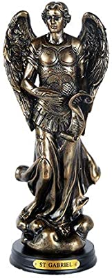 Pacific Giftware St. Gabriel Archangel Messenger from God Figurine 8 Inch Tall Wooden Base with Brass Name Plate