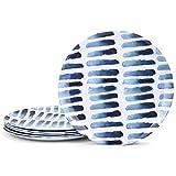 Blue Stripe Melamine Plates, 10.5-inch Dinner Plates set of 6