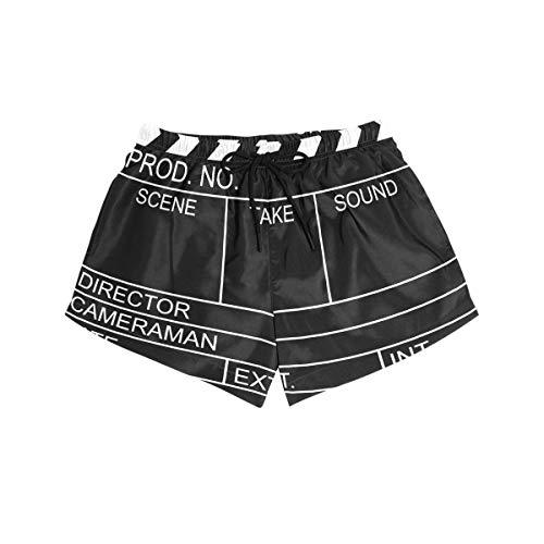 BONIPE Damen Badehose Schwarz Movie Clapboard Quick Dry Surf Beach Board Shorts mit Kordelzug und Taschen S Gr. S, mehrfarbig
