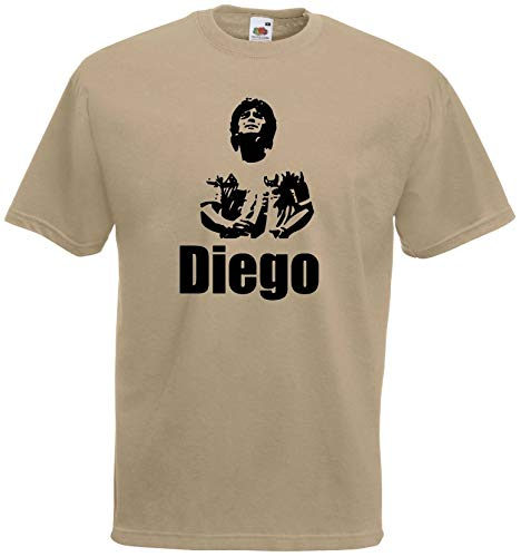 World of Shirt Herren T-Shirt Diego Maradona Fussballgott Trikot