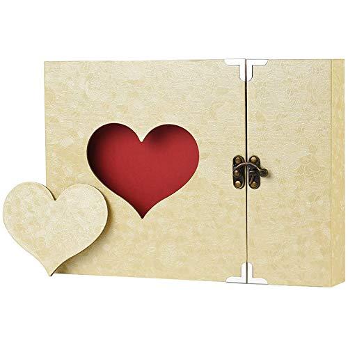 Firbon Album Fotografico, Scrapbook, Sticker Diario Creativo con Incisione a Forma di Cuore.Wedding Anniversary, Birthday, Mother's Day, Valentine's Day Idea Regalo(Giallo)