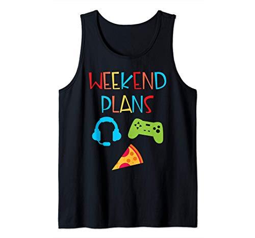 Funny Video Gamer Weekend Plan Pizza Gamepad Fun For Kids Tank Top