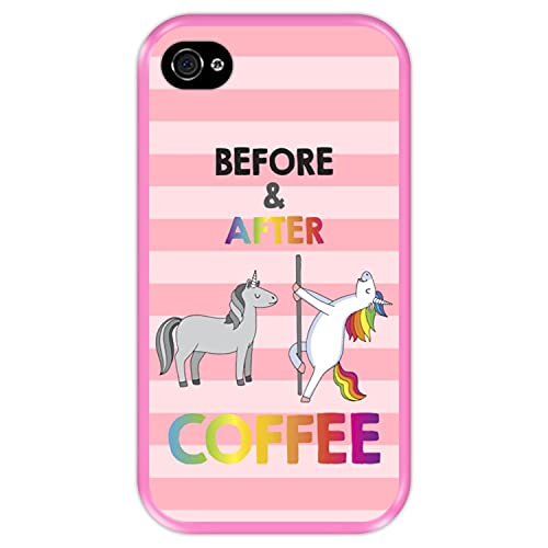 Hapdey Funda Rosa para [ Apple iPhone 4-4S ] diseño [ Antes y despues del Cafe ] Carcasa Silicona Flexible TPU