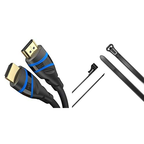 KabelDirekt – 1m – 8K HDMI 2.1 Cable HDMI Ultra High Speed + sujetacables con Auto Cierre