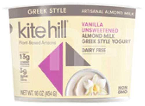 Kite Hill Greek Style Vanilla Unsweetened Almond Milk Yogurt, 16 Ounce -- 6 per case.