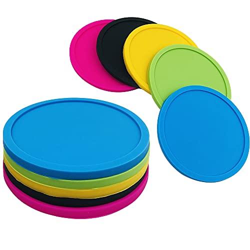 FineGood - Set di 5 sottobicchieri rotondi per bevande, sottobicchieri per birra, antiscivolo, 5 pezzi, colore: nero, blu, verde, rosa