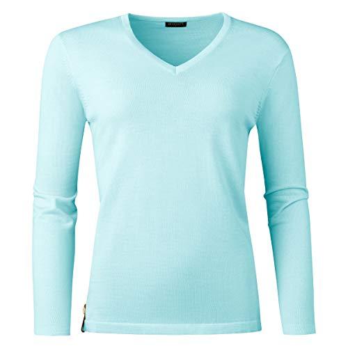agon Damen Merino-Pullover - Strick-Pullover mit V-Ausschnitt, hochwertiges Langarm-Shirt aus Biella Merino-Wolle mit UV-Schutz Türkis 38/M