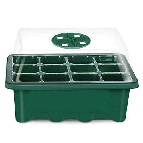 Bandeja de iniciación de 12 Agujeros para semilleros de Invernadero Bandeja de iniciación de plástico Ajustable a la Humedad con cúpula y Base