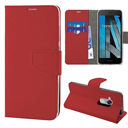 N NEWTOP Cover Compatibile per Huawei Honor 6A, HQ Lateral Custodia Libro Flip Chiusura Magnetica Portafoglio Simil Pelle Stand (Rossa)