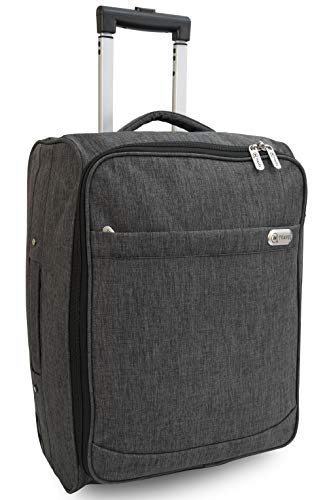 iN Travel Cabin Bag Trolley with Wheels Hand Luggage Flight Bags Suit Case for Easyjet, British Airways, Virgin, Jet 2 and Many Others Airlines or Travel (Grey Bundle 3 Case & Emoji Tags)