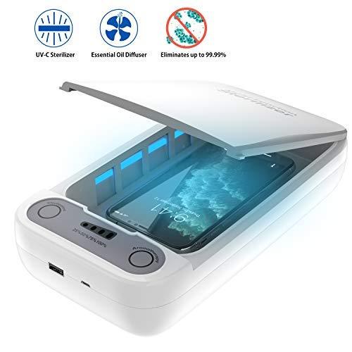 OKF Tragbare UV-Smartphone-Reinigungsbox, Telefonseife Multifunktion mit Aromatherapie für iOS Android Zahnbürste Schmuck Uhren Brille Salon Tools