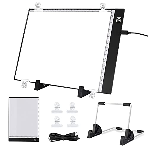 solawill Mesa de Luz LED para Calcar Dibujos para Artistas, Dibujantes, A4 Tableta de Luz para Dibujos, Ilustración, Diseño, Cómic, Animación, 3 Modos de Iluminación, Cable USB 🔥