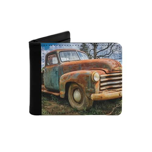 Cartera Delgada de Cuero para Hombre,Camioneta Chevy 1950 oxidada,Cartera Minimalista con Bolsillo Frontal Plegable
