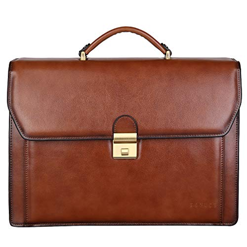 Banuce Vintage Leather Briefcase for Men with Lock Attache Case 14 Inch Laptop Business Bags Tote Work Bags Brown