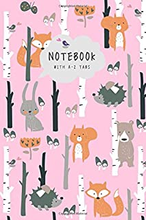 Notebook with A-Z Tabs: 6x9 Lined-Journal Organizer Medium with Alphabetical Sections Printed | Hedgehog Fox Bear Bunny Design Pink