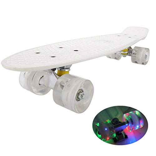 YULINGSTYLE Penny Board, 22 inch Skateboard ist Geeignet für Skateboard Kkinder ab 8 Gahre, Street Outdoor Sports Flashing Penny Board Pastel für Kinder (White)